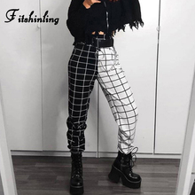 Fitshinling Black White Patchwork Pants Women Casual 2020 Plaid Checker Joggers Athleisure High Waist Trousers Female ClothesPants & Capris