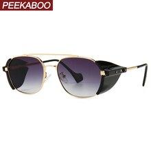 Peekaboo retro punk sunglasses side shields male windproof 2