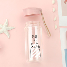 Glass Cup 240 Ml Cartoon  Cute Cat Bottle Double Wall Outdoor School Travel Office Mugs Tea Hydro Flask