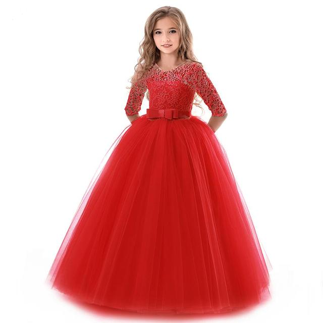 New Princess Lace Dress Kids Flower Embroidery Dress For Girls 14T Formal Ball Gown 2