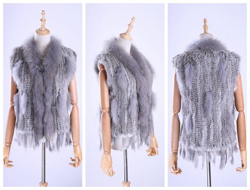 H1e4a82bab9894c02906fde1d05bb0f14K Brand New Women's Lady Genuine Real Knitted Rabbit Fur Vests tassels Raccoon Fur Trimming Collar Waistcoat Fur Sleeveless Gilet