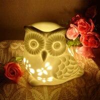 Полый сова керамическая масляная лампа Эфирная топка для эфирных масел благовонные свечи ладан горелка А