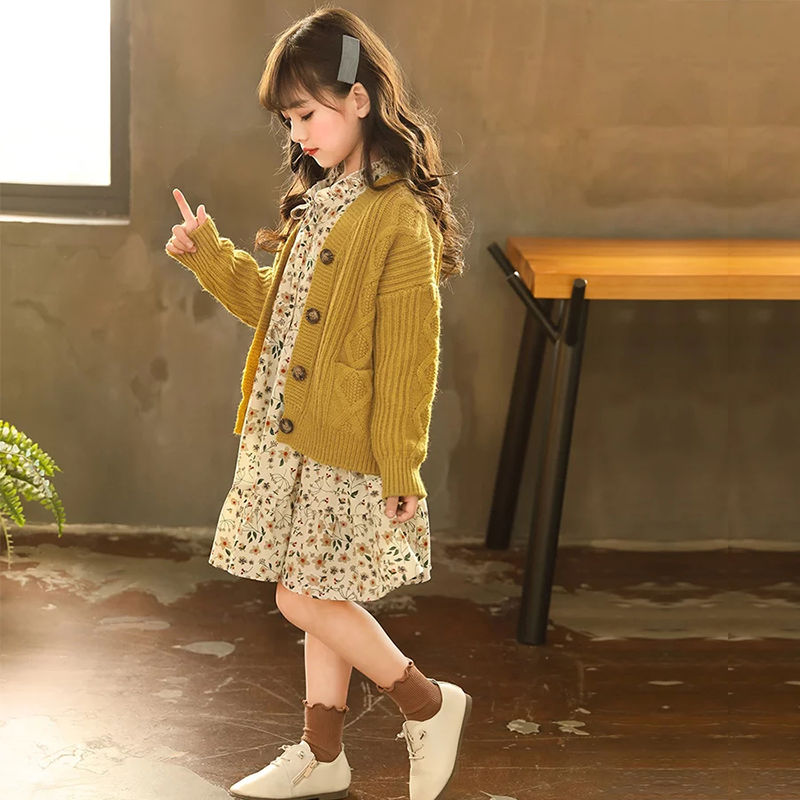 Image 3 - Kids Sweaters Autumn Solid Girls Cardigan Knit Wool Children Girls Clothes Tops Color Yellow Children Girl Warm Winter SweaterSweaters   -