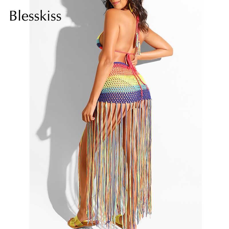 Blesskiss フリンジ女性のサマーセクシーなかぎ針ビキニカバーアップ水着女性ツーピースを設定します。