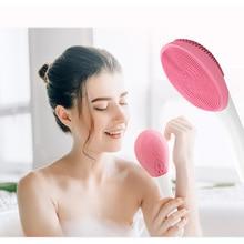 Силиконовая электрическая щетка для ванны, массаж душа с 3 уровнями вибрации, длинная ручка, очищающая щетка для тела, спа-инструменты для купания, душ