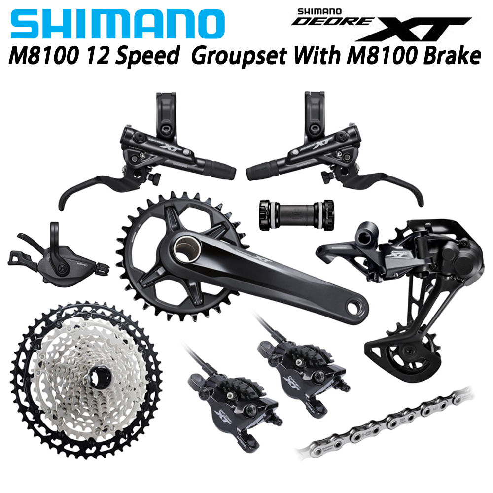 SHIMANO DEORE XT M8100 1x12-Speed Groupset with M8100 brake 32T 34T 36T 170 175 Crankset 10-51T M8100 Rear Derailleur image