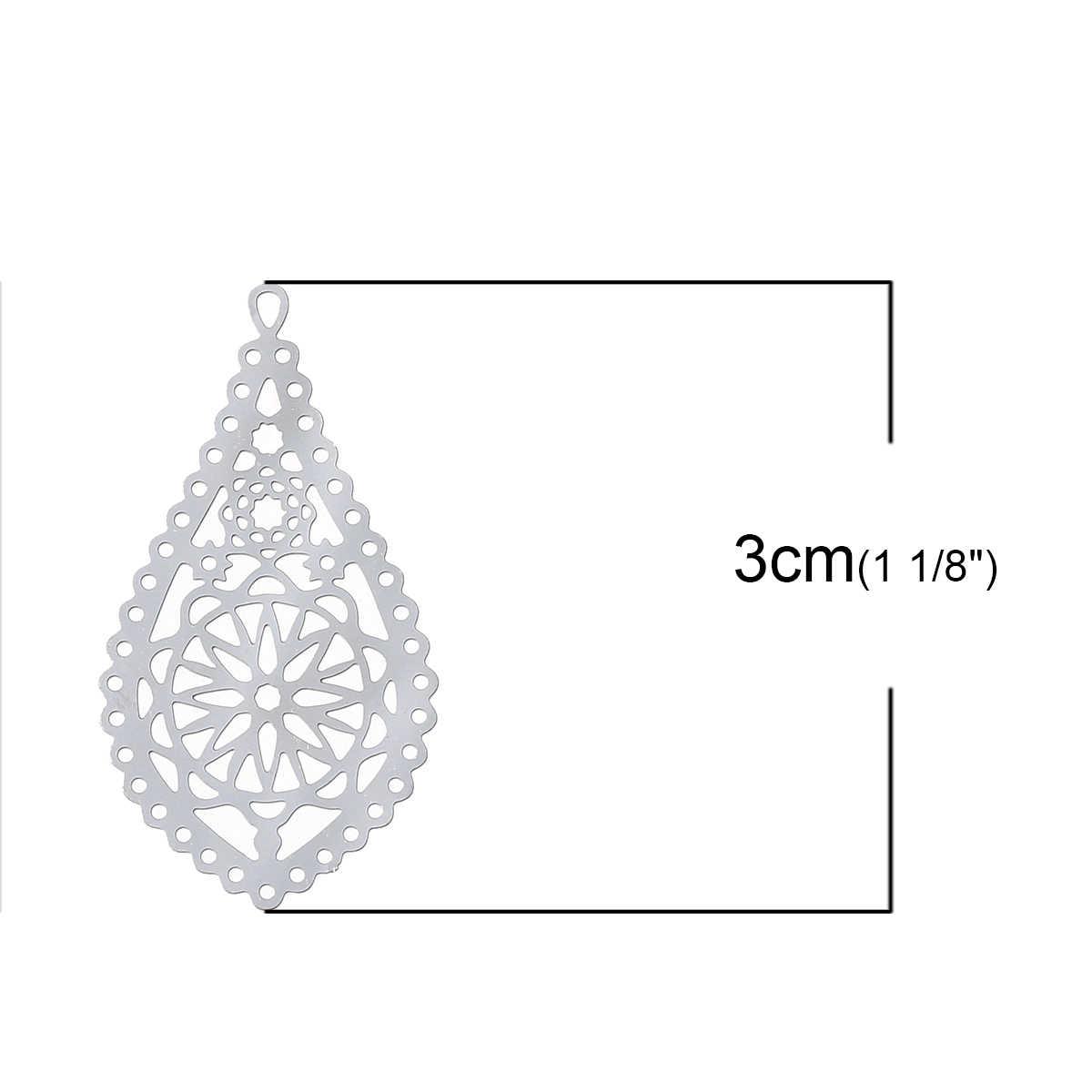 "DoreenBeads פיליגרן נירוסטה קסם תליוני Teardrop כסף טון פרח חלול מגולף 30mm (1 1/8 "") x 16mm (5/8 ""), 2 Pcs"