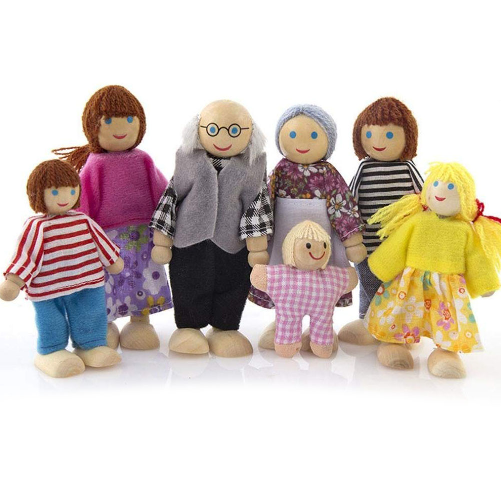 Cute Wooden Happy Family Dressed Puppet Flexible Joints Doll House Accessory Kids Toy Birthday Gift