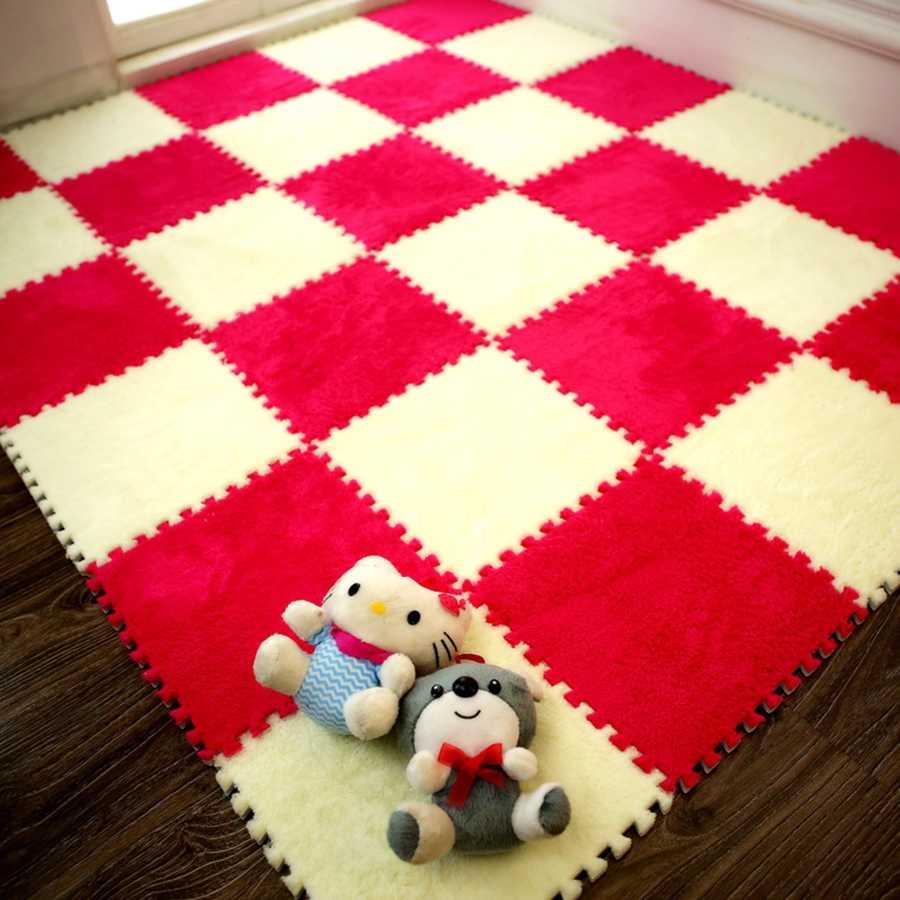חדש מכירה למעלה 30*30cm סלון חדר שינה ילדי ילדים רך שטיח קסם טלאי פאזל אחוי ראשי תינוק טיפוס מחצלת 1pc