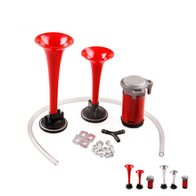 12V electric horn car air horn car double pipe air pump horn loudspeaker horn,  motorcycle tweeter, alarm, car horn accessories цена в Москве и Питере