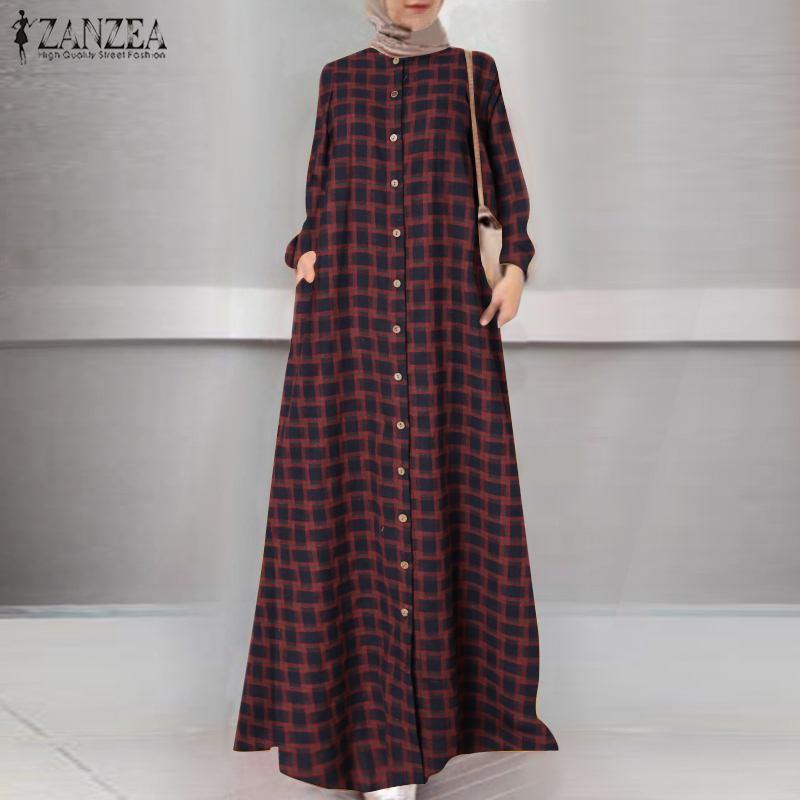 Casual Islamic Clothing Robe Muslim Fashion Dress Spring Maxi Long Dress Women Long Sleeve Button ZANZEA Vintage Hijab Sarafans 5