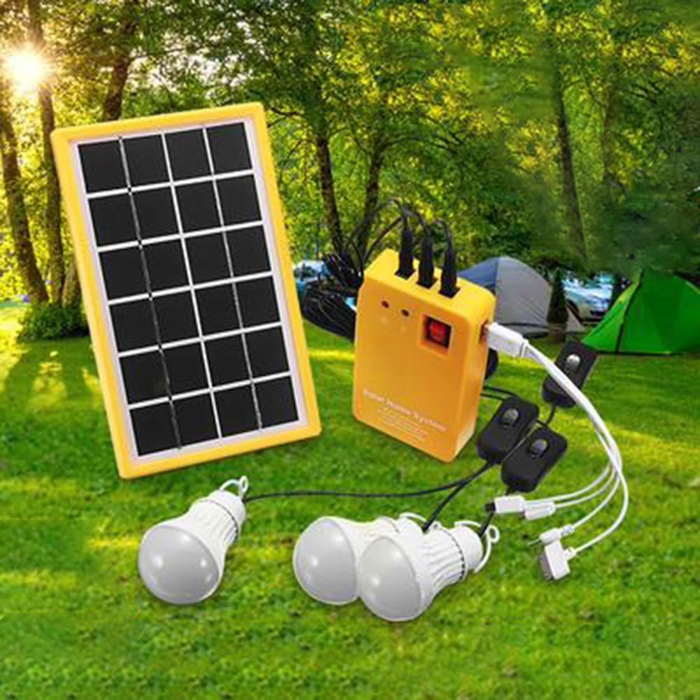 Outdoor Portable Solar Panel Electric Generator 3 LED Bulb Power System Kit  Electric Generator 3 LED Bulb Power System Kit Sola