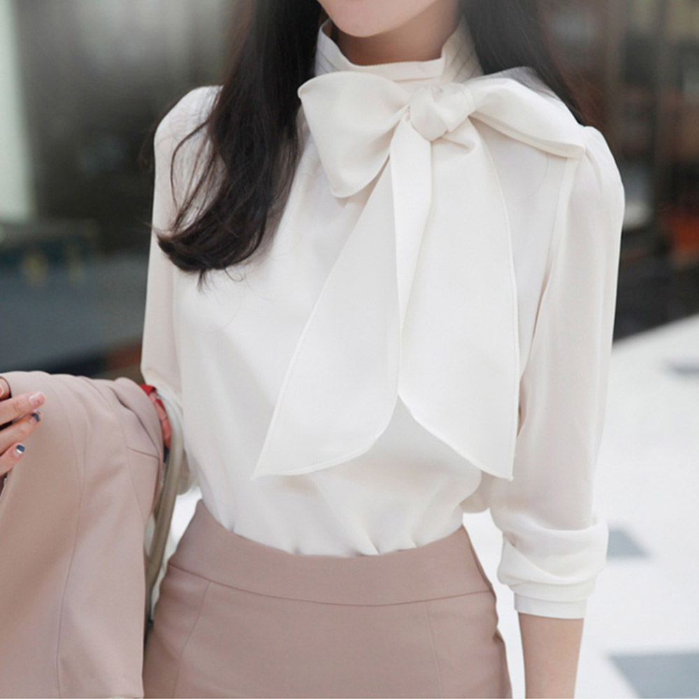 Women Chiffon Blouse Long Sleeve 2020 Korean Style Slim Elegant Top Office Lady Young Girl School