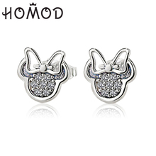 HOMOD 2019 Mickey Earrings For Women Silver Color Stud Sparkling Minnie Brand Fashion Jewelry Gift