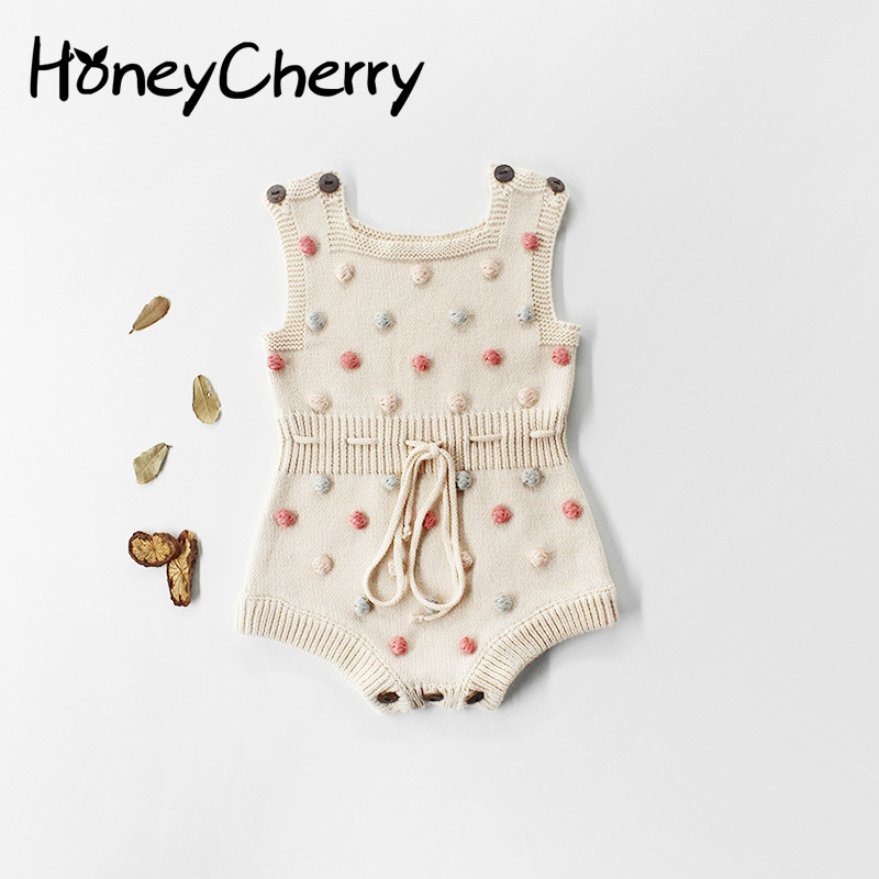 Baby Knit Romper Hand-made Wool Ball Baby Girl Kawaii European Style Baby Girls Ball Romper Winter Warm Clothes