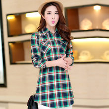 New 2019 Women Autumn Casual Long Blouses Women's Shirts Long Sleeve Blouse Cotton Plaid Shirt Tops Lady Clothes Top Plus Size(China)