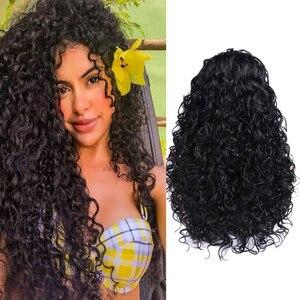 Image 2 - お気に入り黒レースフロント 1.5*30 ロングアフロカーリー耐熱性繊維の毛黒人女性のための毎日パーティーアフリカ合成かつら