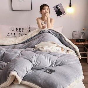 Image 4 - 1Pcs Twin/König größe verdickung warme Bettdecke Abdeckung hause Luxus Gedruckt Flanell Bei Bei Samt Winter Doppel konfrontiert bettbezug