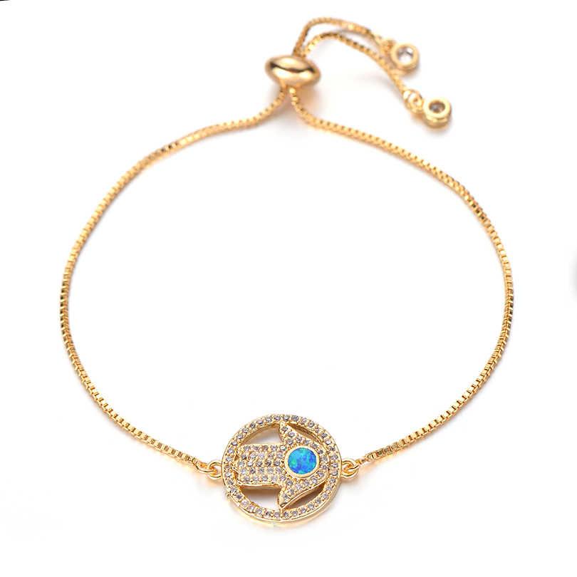 Pipitree אופנה חמסה יד צמיד עם כחול אש אופל מיקרו פייב מעוקב Zirconia קריסטל צמידי נשים גברים תכשיטי שרשרת
