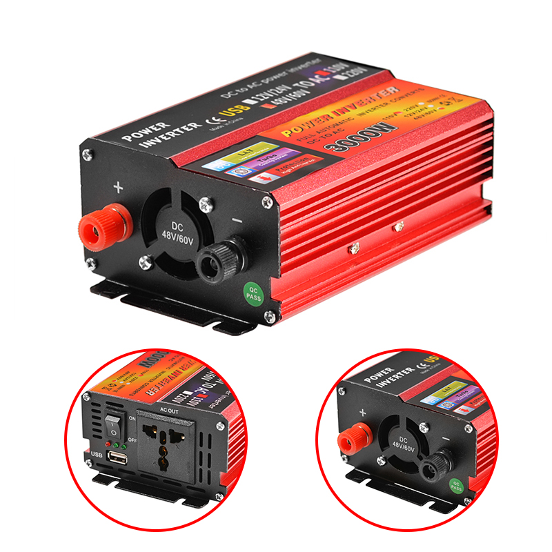 Solar Inverter 12V 220V 3000W Peak Voltage Converter Transformer DC 12V&24V 48V&60V To AC 110V/220V Auto Adapt Inversor