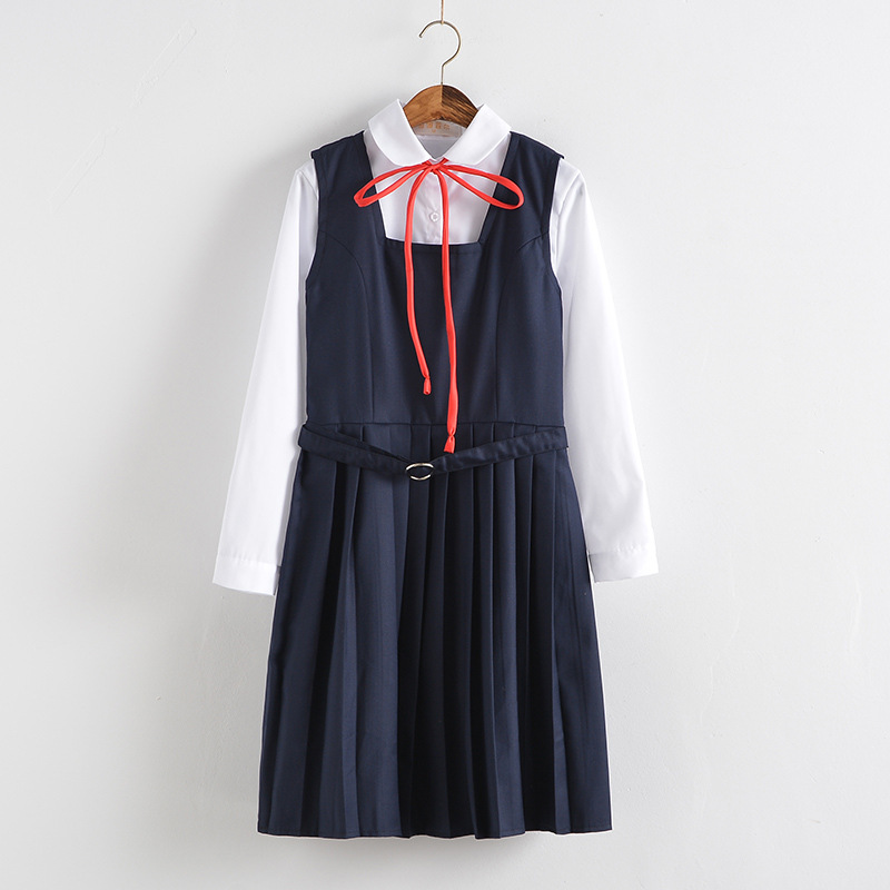 School Dresses For Girls White Long-sleeved Top White Shirt With Tie Navy Blue Vest Pleated Dress Short Skirt Anime Form Costume