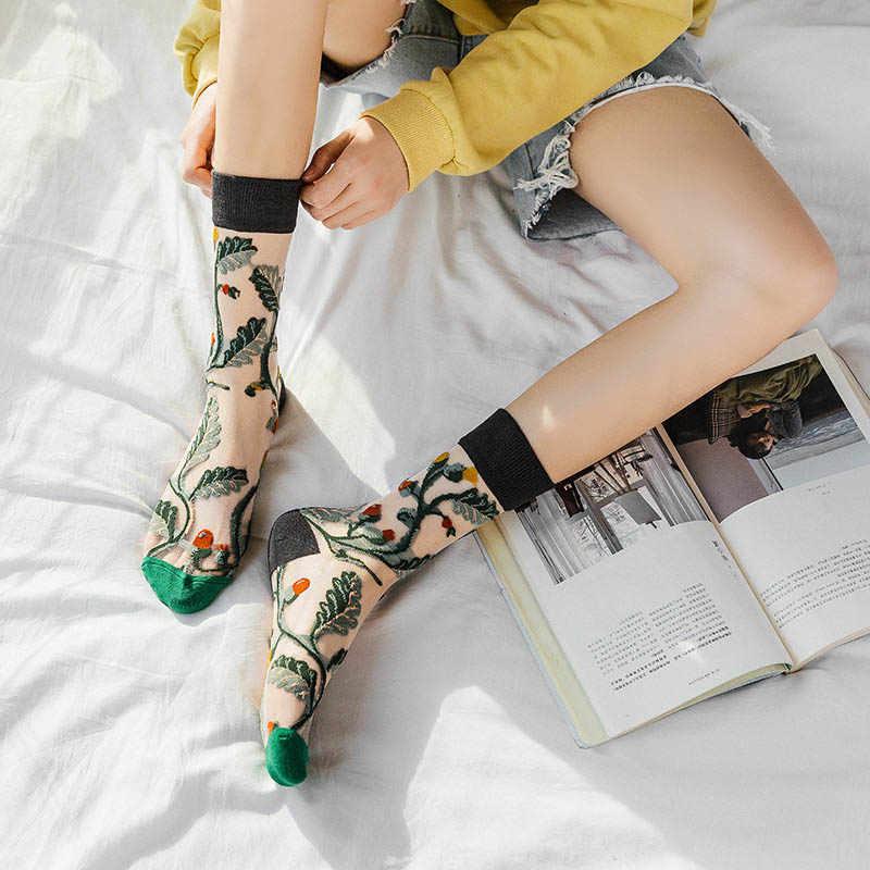 Kreative Harajuku Neue Produkt Kristall Seide Flut Socken Lustige Sonnenblumen Reben Blumen Glückliche Frauen Socken Casual Hohe Qualität Sox