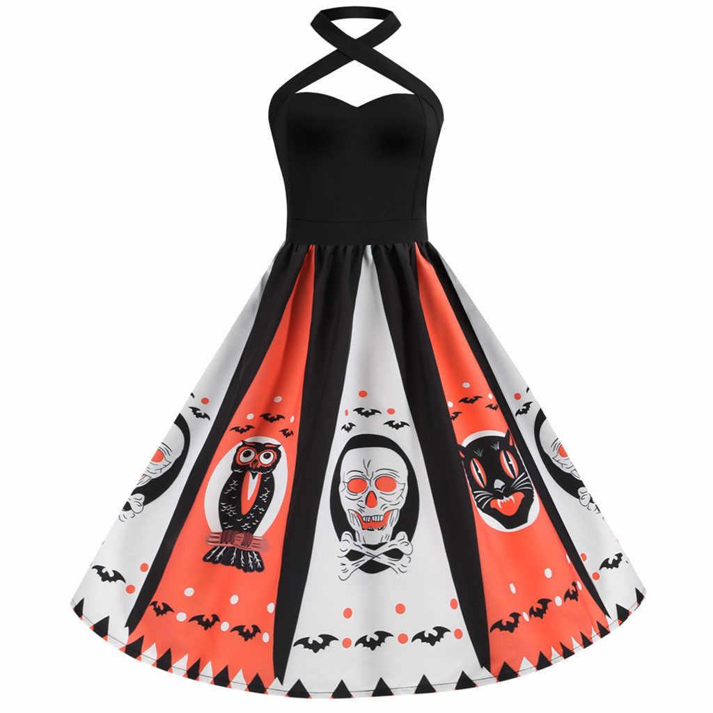 Женское винтажное платье плюс размер Хэллоуин ведьма костюм женское платье на бретельках 50s домохозяйка вечернее платье