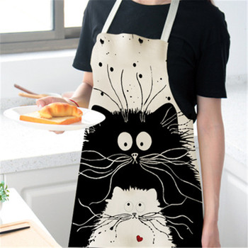 Cute Cat Print Cooking Kitchen Apron For Woman Men Waterproof Cotton Aprons Chef Waiter Cafe Shop BBQ Hairdresser Aprons Bibs фото