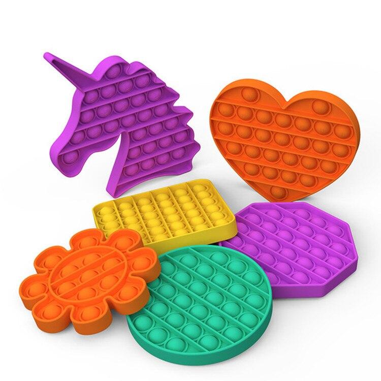 Новый пуш-ап пузырь фиджет-антистресс игрушки для взрослых и детей в виде единорога поп фиджет-это сенсорные игрушка для аутистов особые по...