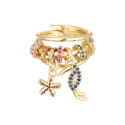 HECHENG,rainbow kolorowy pierścień CZ, hurtownia, wielowarstwowy pierścień, dzięcioł uroczy kwiat biżuteria accessries VJ27