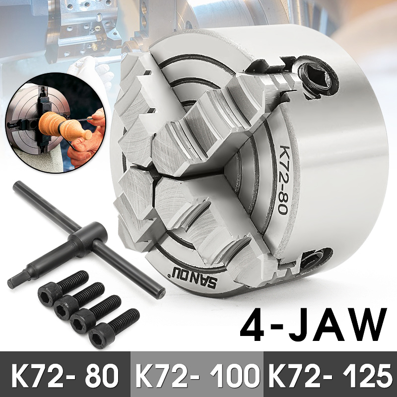 4 Jaw Lathe Chuck 80mm/100mm/125mm K72- 80/K72- 100/K72- 125 Independent 1pcs Safety Chuck Key 3pcs Mounting Bolt