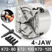 4 Jaw Lathe Chuck 80mm/100mm/125mm K72- 80/K72- 100/K72- 125 Independent 1pcs Safety Chuck Key 3pcs Mounting Bolt(China)
