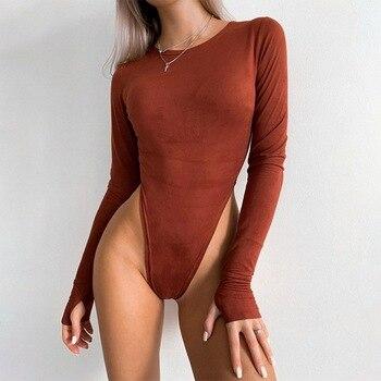 2020 Women O Neck Long Sleeve Bodysuit Women Suede 2020 Autumn Winter Sexy Body Top Khaki Casual Sol