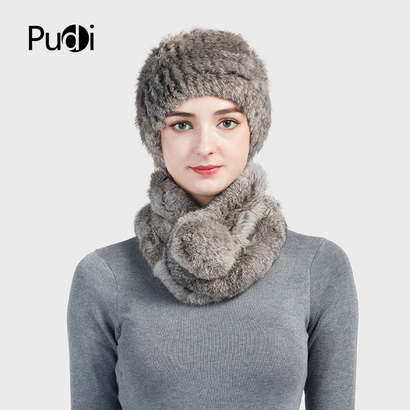 Pudi SF724 Women's Real Rex Rabbit Fur Hats&scarves Sets Brand New 2018  Genuine Fur Hat Scarf Sets 3 Colors