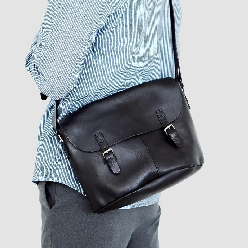 LAN  Genuine Leather Men's  Shoulder Bag Leisure Handbag Plant Tanned Cow Leather Bag Japanese Style