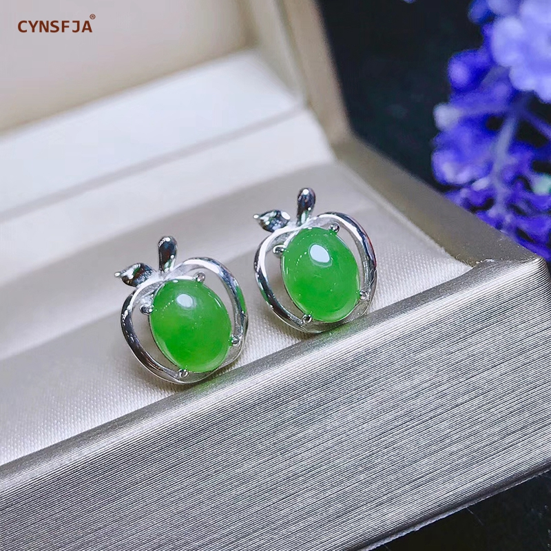 CYNSFJA Real Certified Natural Hetian Jade Jasper 925 Sterling Silver Fine Jewelry Green Jade Earrings High Quality Best Gifts