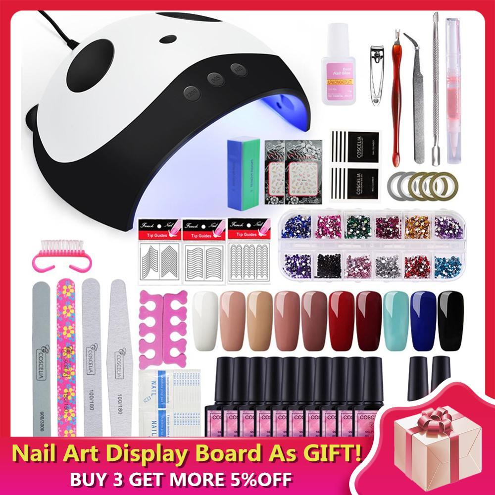 Manicure Set 36W Dryer Lamp For Nails Set For Gel Nail Polish Set For Manicure Nail Extension Set 10 Colors Gel Varnish 8 ML