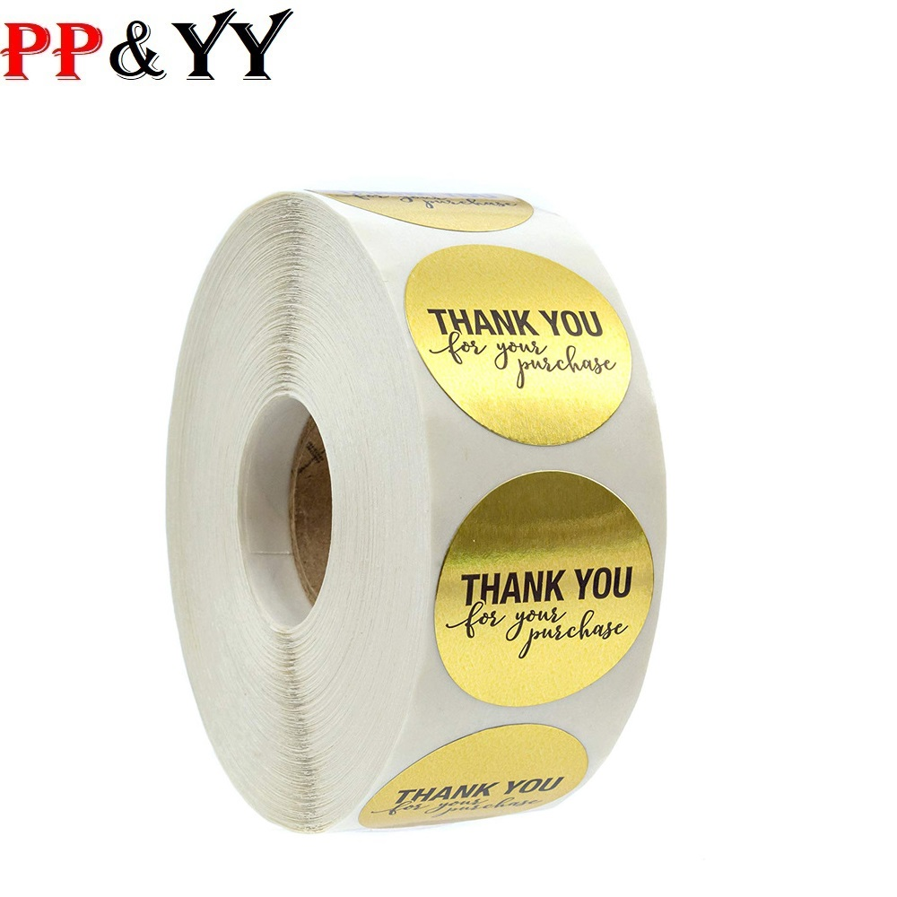 500pcs/roll Round Foil Gold Thank You For Your Purchase Stickers Seal Labels Scrapbooking For Gift Packaging Stationery Sticker