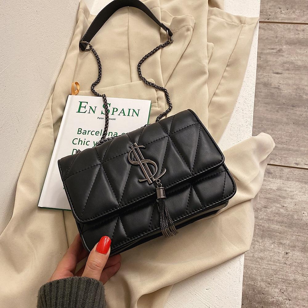 Luxury Brand Crossbody Bags for Women Shoulder Bag Black Women Leather Handbags Tassel Vintage Flap Bags Ladies Sac A Main New