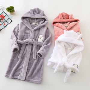 Image 3 - Automne hiver vêtement de nuit pour enfants Robe flanelle à capuche peignoir chaud enfants pyjamas pour garçons et filles belle bande dessinée animaux Robes