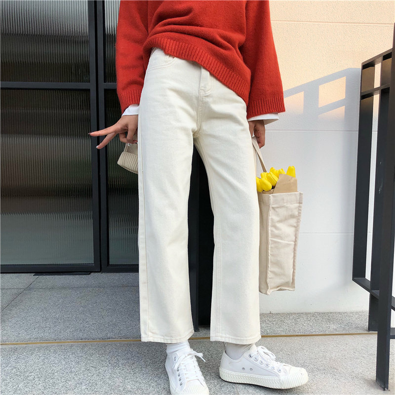 Alien Kitty Cowboy Apricot Hot Casual Slender 2020 Hot All Match Wide Leg Jeans Streetwear Denim Pants Ankle-Length Trousers