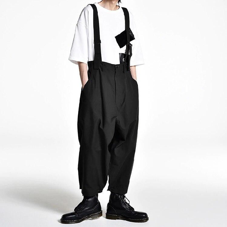 2019 New Fashion Men's Casual Wide-leg Pants Catwalk Show Stage Japanese Hair Stylist Loose Bib Susperdens Patns
