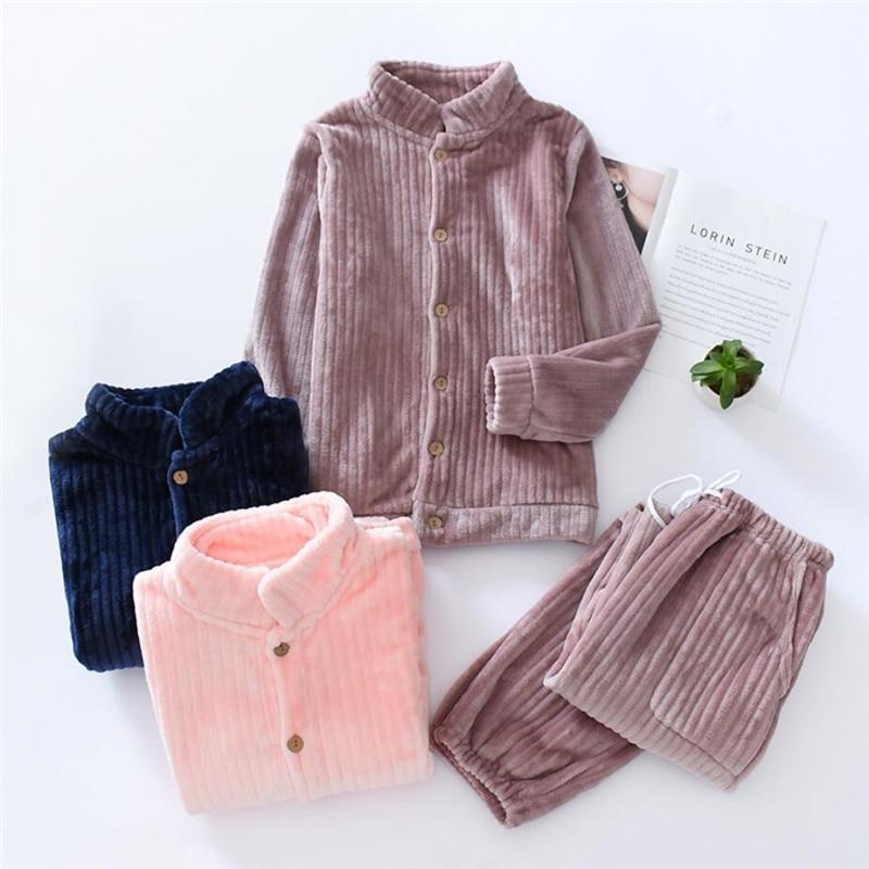 2019 New women coral velvet pajamas set autumn winter warm couples sleepwear ladies and mens solid fleece