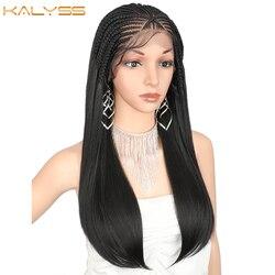 Kalyss 24 Zoll 13x5 Geflochtenen Perücken für Schwarze Frauen Lace Front Synthetische Haar Perücke Lange Gerade Box Geflecht perücke Baby Haar Faux Locs
