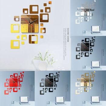NEW Modern DIY Large Wall Clock 3D Mirror Sticker Room Decor Art Design 2019 UK 1
