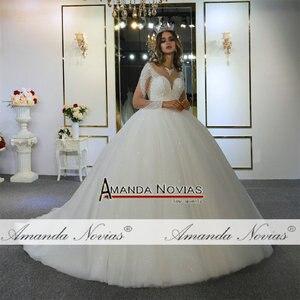 Image 5 - robe de mariee full beading long sleeves wedding dress puffy ball gown bride dress 2020