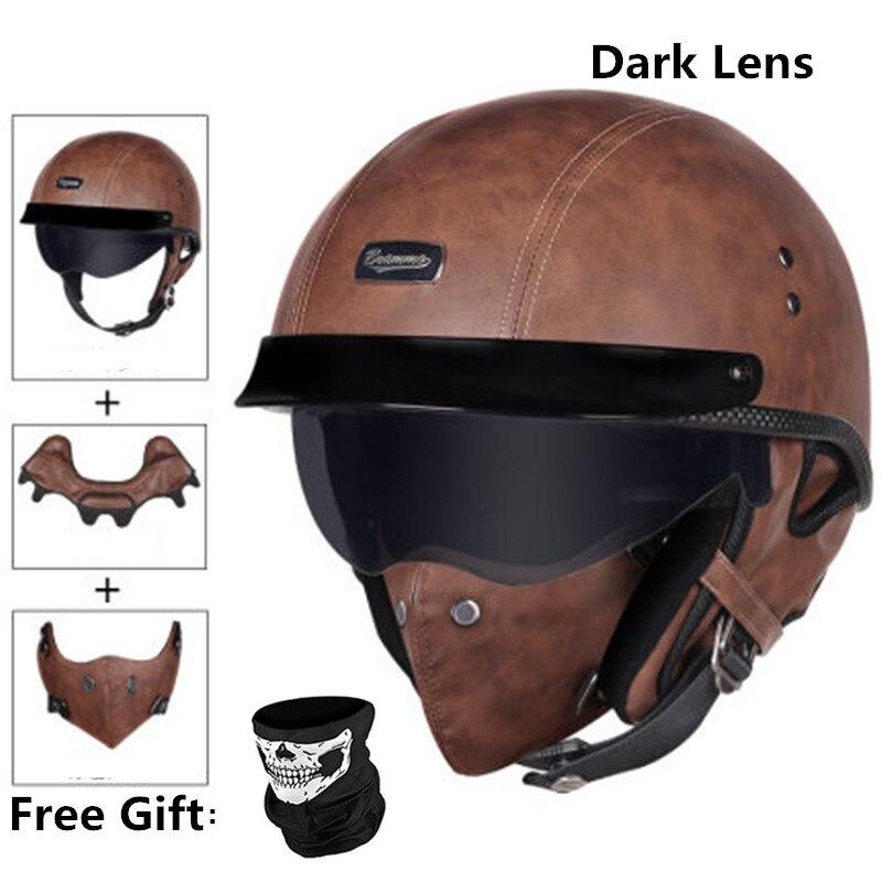 HOT sale Open Face Half PU Leather Helmet Moto Motorcycle Helmets vintage Motorbike Headgear Casque Casco For helmet|Helmets|   - AliExpress