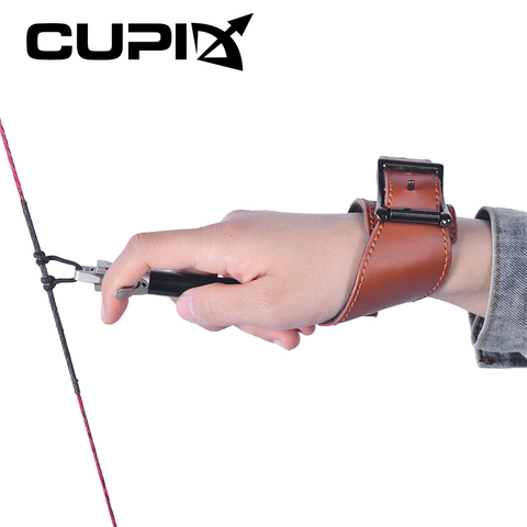 esquerda mao direita usuario 360 graus de couro arco liberacao ajustavel alca de pulso comprimento