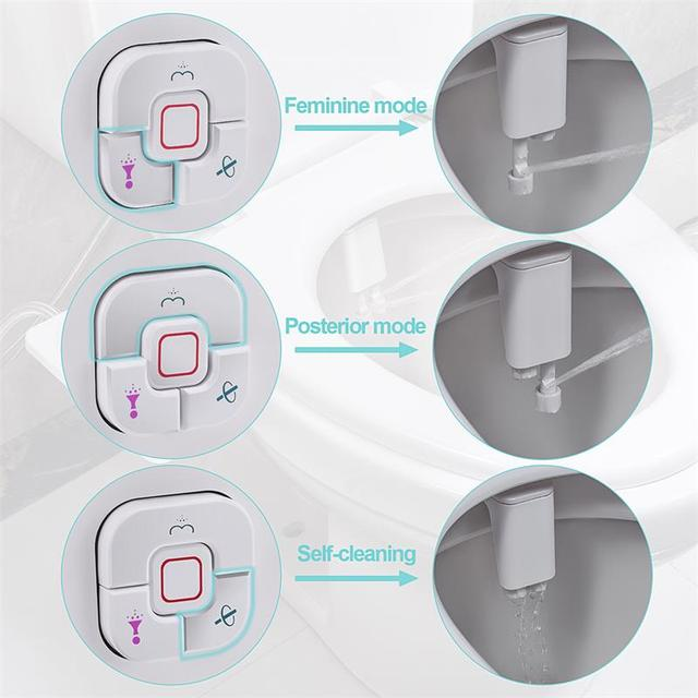 Samodra Toilet Bidet Shower Ultra-thin Bidet Toilet Seat Attachment Non-electric Bidet sprayer Dual Nozzles Frontal & Rear Wash 4