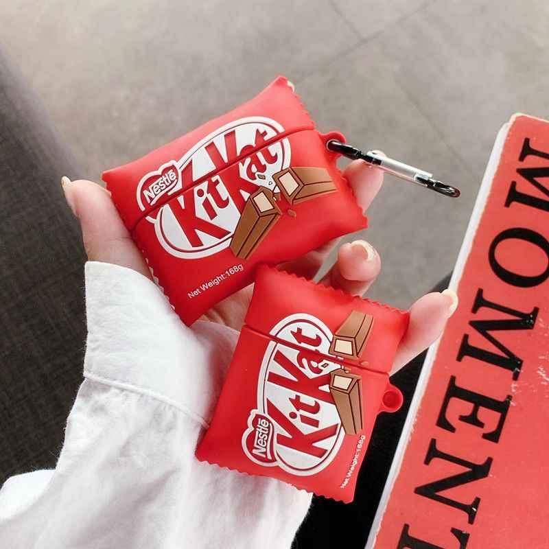 3D Nestle KitKat ช็อกโกแลตหูฟังสำหรับ AirPods 1 ชาร์จ 2 กล่องซิลิโคนนุ่มกันกระแทกหูฟังสำหรับ airpods Pro